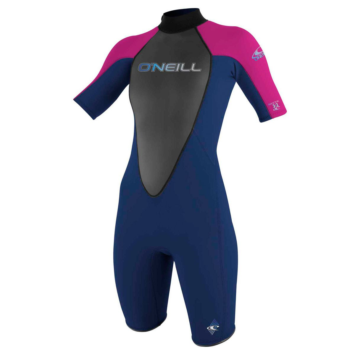 O'Neill Womens Reactor 2mm Shorty Wetsuit - Navy/ Punk Pink/ Navy