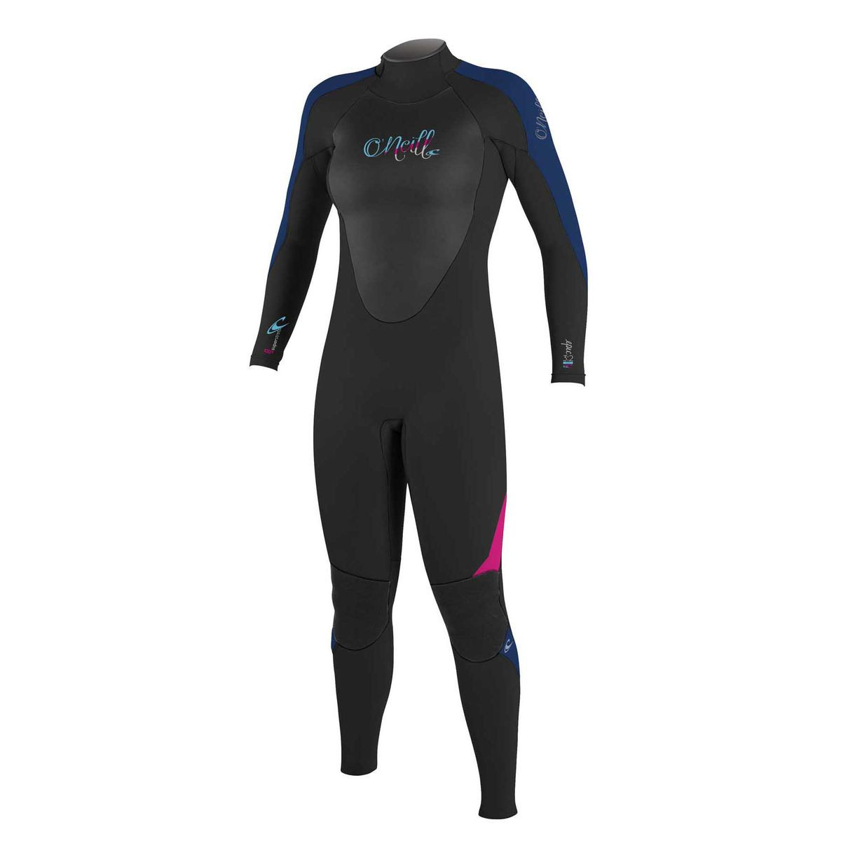 O'Neill Womens Epic 3/2mm Back Zip Wetsuit - Black/ Navy/ Berry