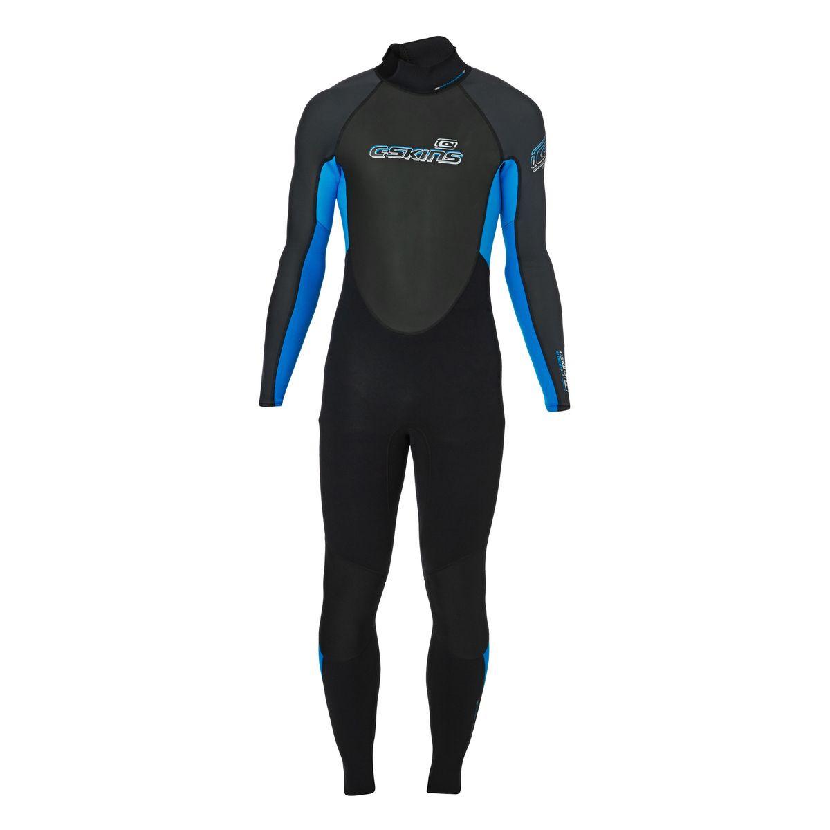 C-Skins Element 3/2mm Flatlock Back Zip Wetsuit - Black/ Blue/ Graphite