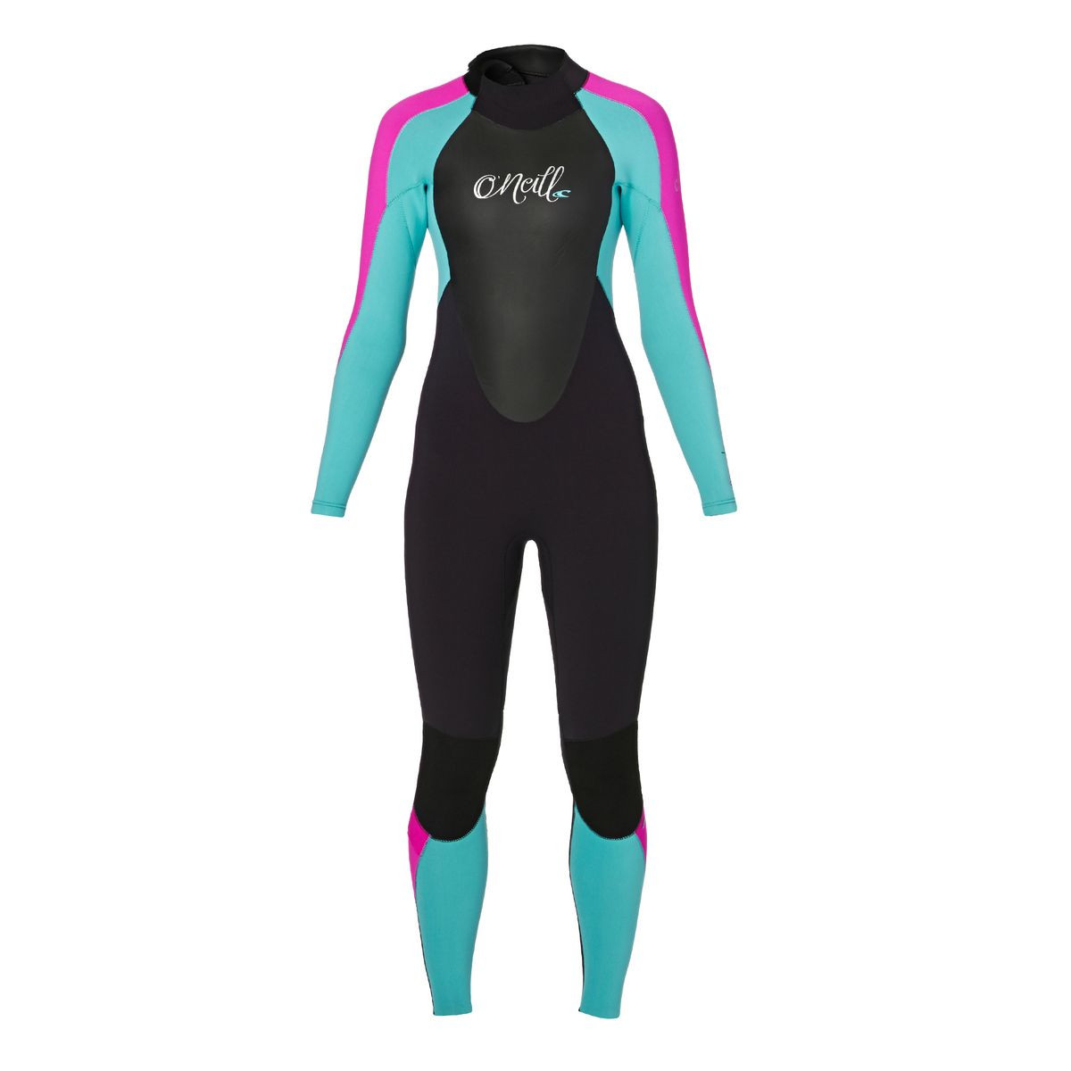 O'Neill Womens Epic 4/3mm 2017 Back Zip Wetsuit - Black/ Light Aqua/ Berry