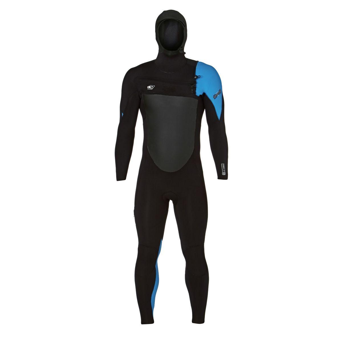 O'Neill Superfreak 6/4mm 2017 Hooded Chest Zip Wetsuit - Black/ Black/ Bright Blue