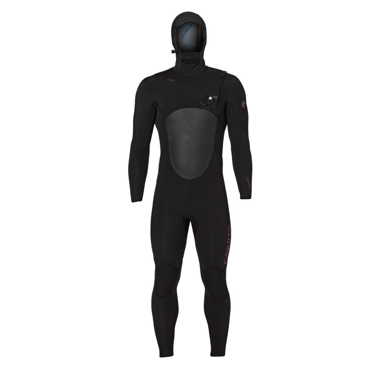 C-Skins Wired 5/4mm 2017 Hooded Chest Zip Wetsuit - Black/ Rust