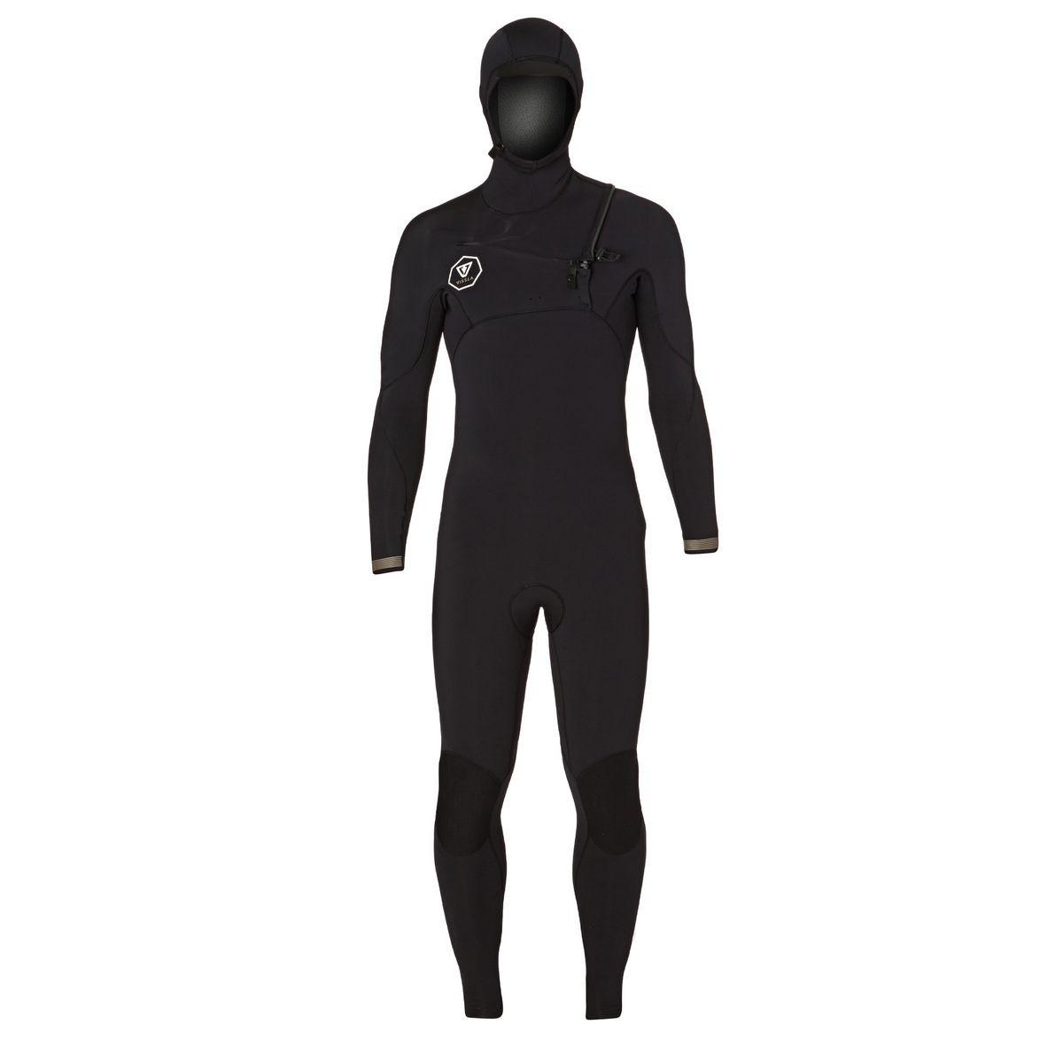 Vissla Seven Seas 4/3mm Hooded Chest Zip Wetsuit - Black/ Gold