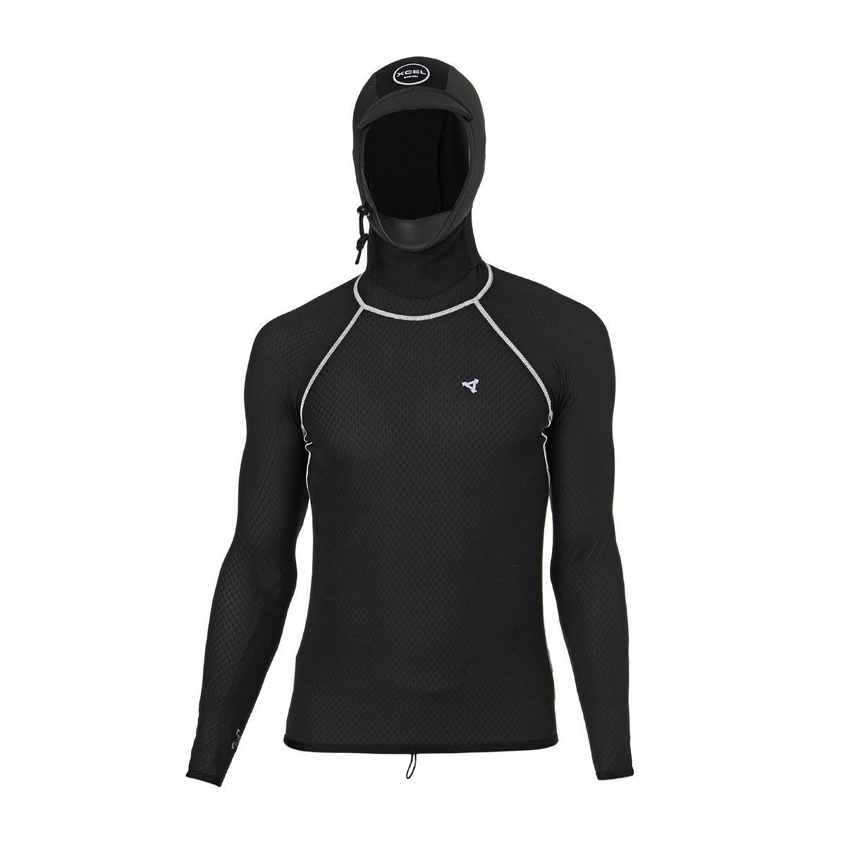 Xcel Celliant 2mm Hooded 2017 Long Sleeve Thermal Rash Vest - Black