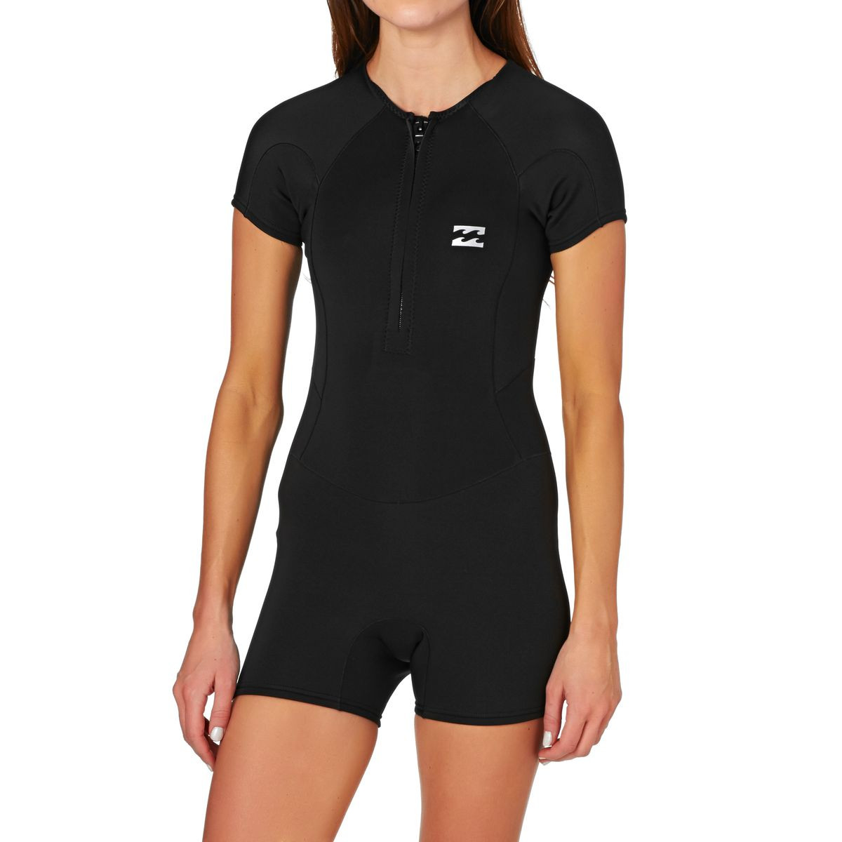 82a649a4cf Billabong Womens Synergy 1mm 2017 Front Zip Short Sleeve Shorty Wetsuit -  Black