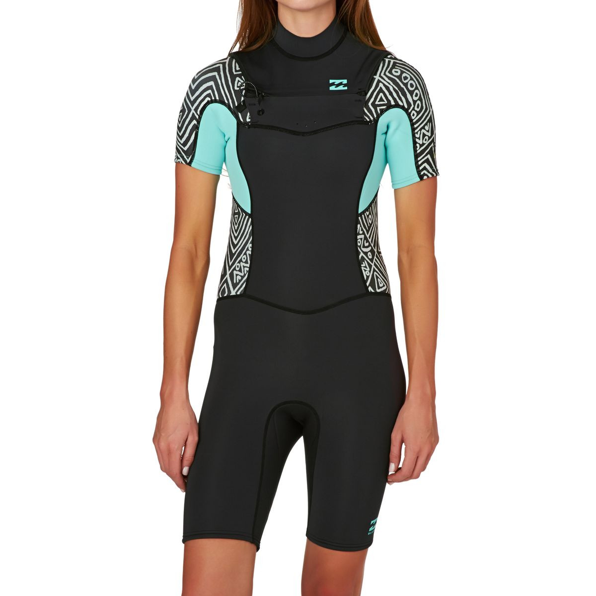 Billabong Womens Synergy 2mm Chest Zip Short Sleeve Shorty Wetsuit - Geo Diamond