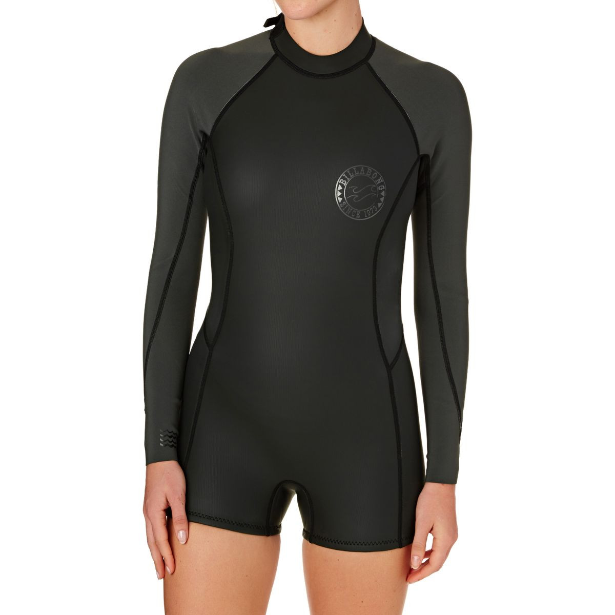a3e6029180 Billabong Womens Surf Capsule Spring Fever 2mm 2017 Back Zip Long Sleeve  Shorty Wetsuit - Black