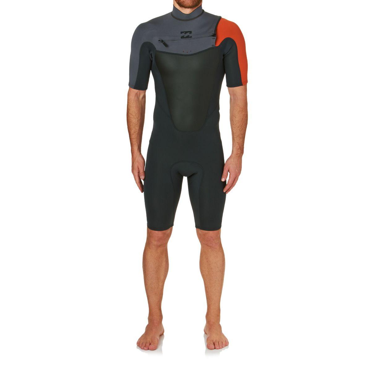 Billabong Absolute Comp 2mm 2017 Chest Zip Short Sleeve Shorty Wetsuit - Orange