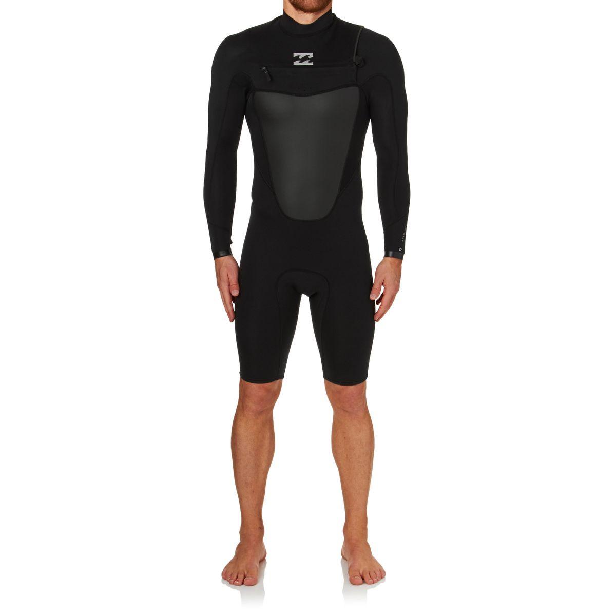 Billabong Absolute Comp 2mm 2017 Chest Zip Long Sleeve Shorty Wetsuit - Black
