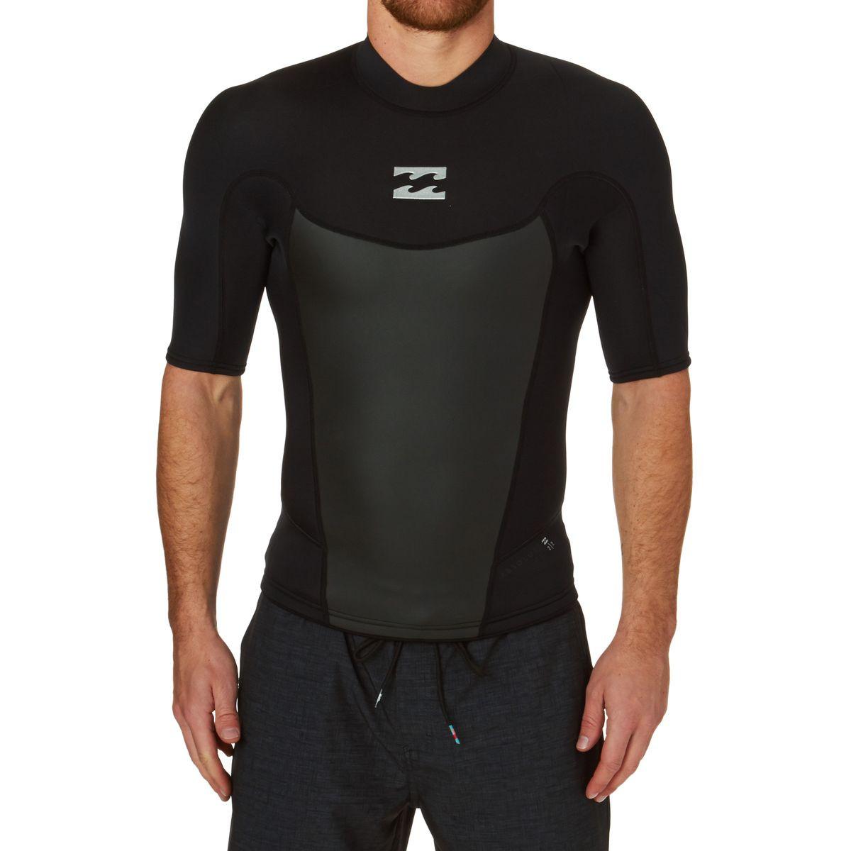 Billabong Absolute Comp 2mm 2017 Back Zip Short Sleeve Wetsuit Jacket - Black