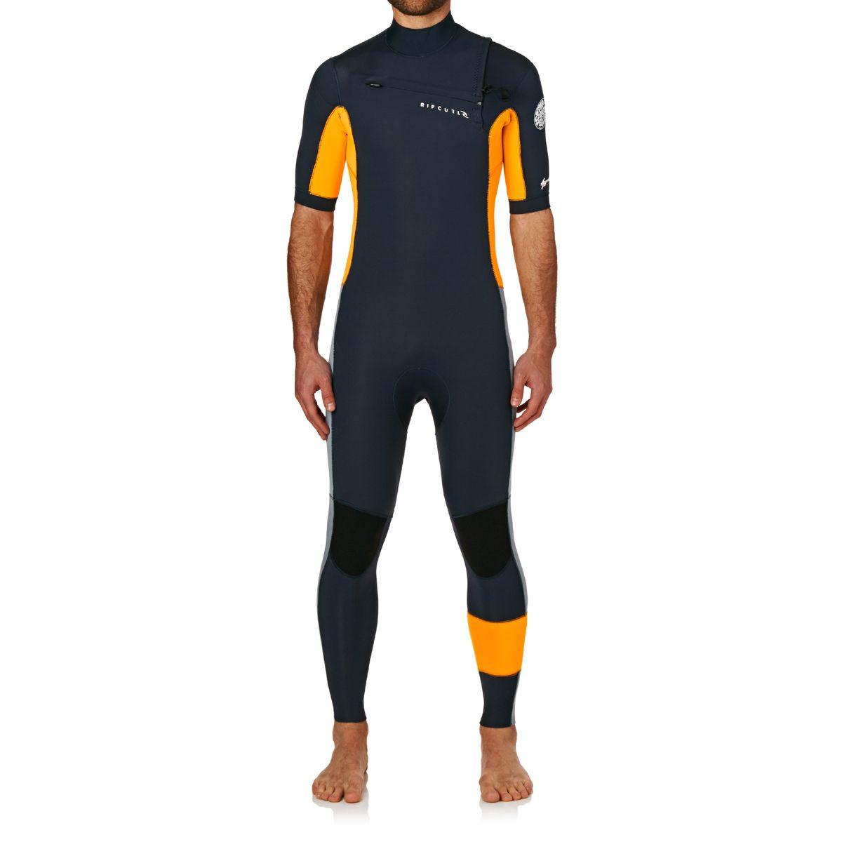 Rip Curl Aggrolite 2mm Chest Zip Short Sleeve Wetsuit - Slate