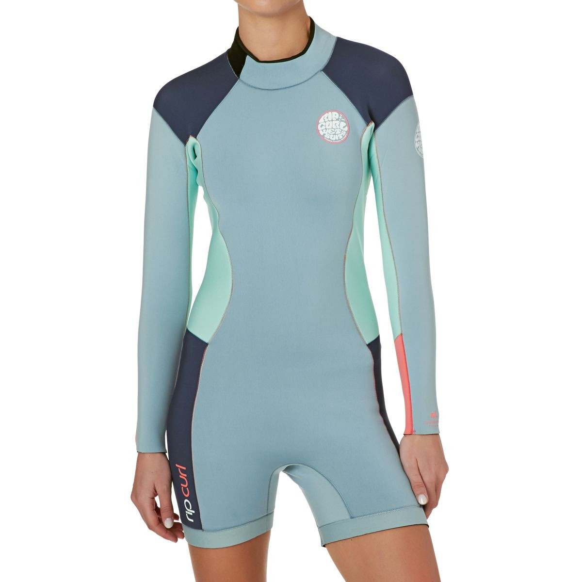 622a05dc27 Rip Curl Womens Dawn Patrol 2mm Back Zip Long Sleeve Shorty Wetsuit - Blue  Ice