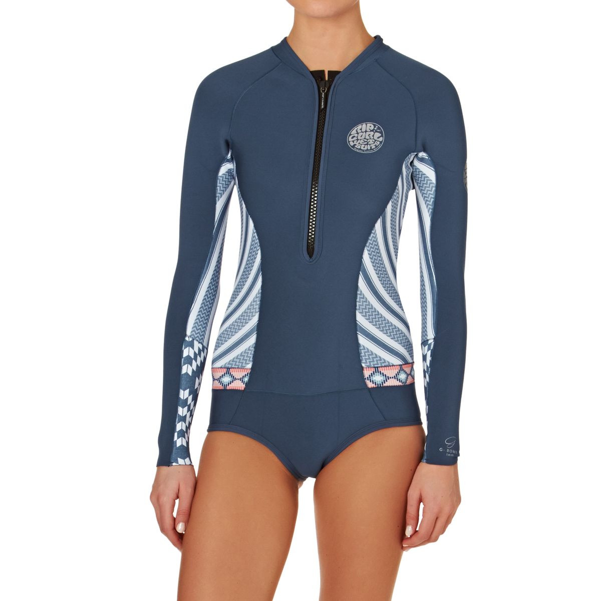Rip Curl Womens G-Bomb 1mm 2017 Front Zip Long Sleeve Hi Cut Shorty Wetsuit - Navy
