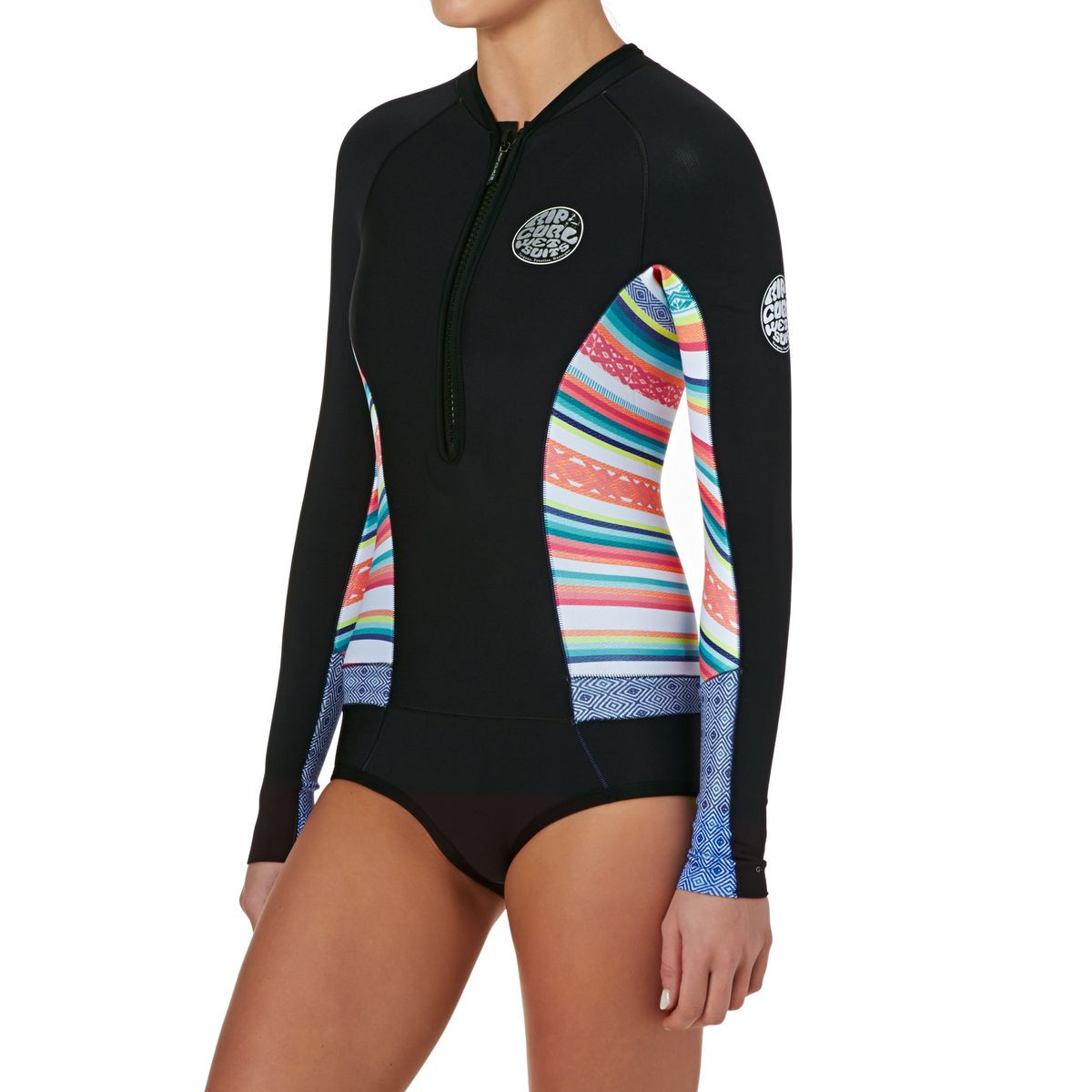 Rip Curl Womens G-bomb 1mm Front Zip Long Sleeve Hi Cut Shorty Wetsuit - Stripe