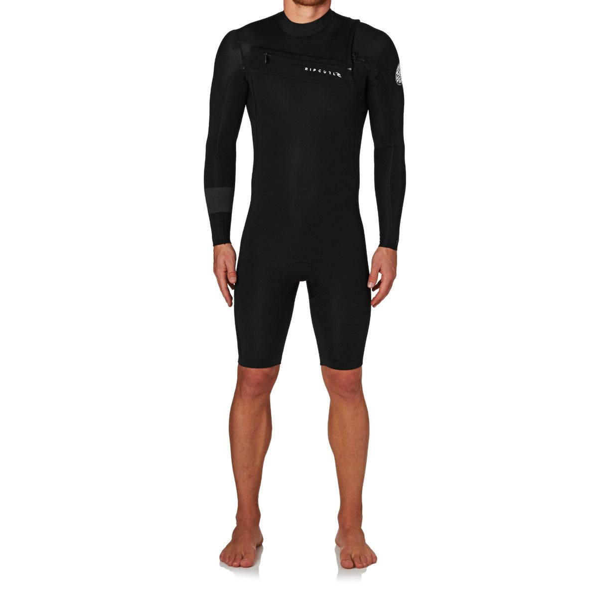 Rip Curl Aggrolite 2mm 2017 Chest Zip Long Sleeve Shorty Wetsuit - Black