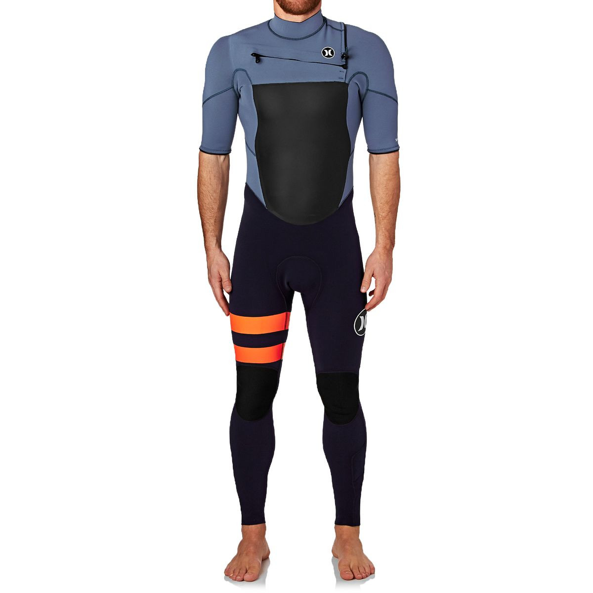 Hurley Fusion 2mm 2017 Chest Zip Short Sleeve Wetsuit - Obsidian