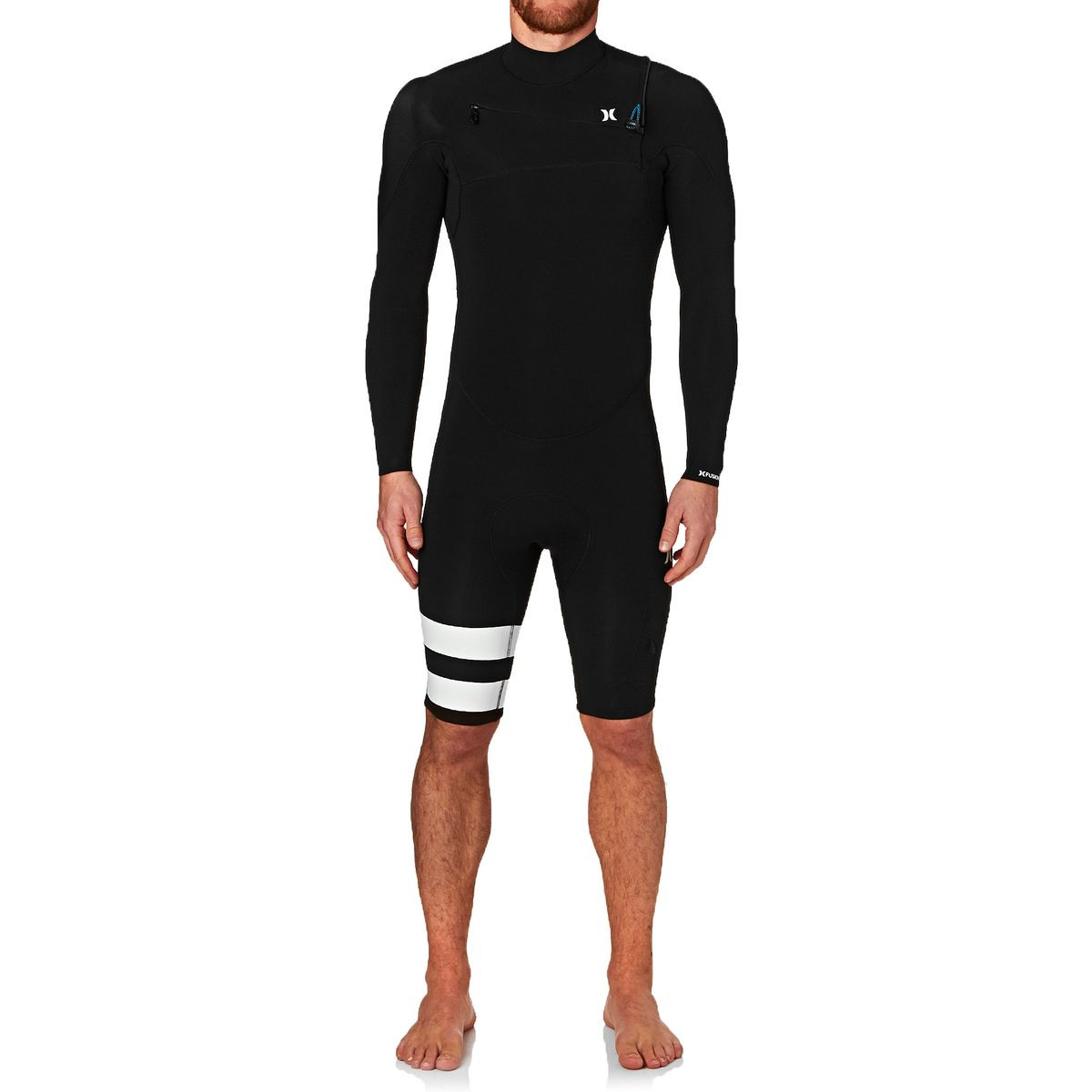 Hurley Fusion 2mm 2017 Chest Zip Long Sleeve Shorty Wetsuit - Black