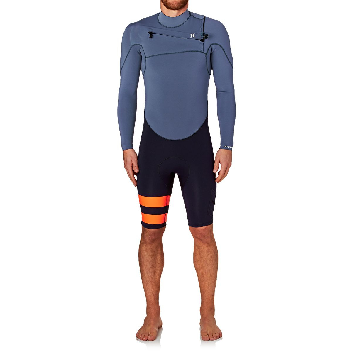 Hurley Fusion 2mm 2017 Chest Zip Long Sleeve Shorty Wetsuit - Obsidian