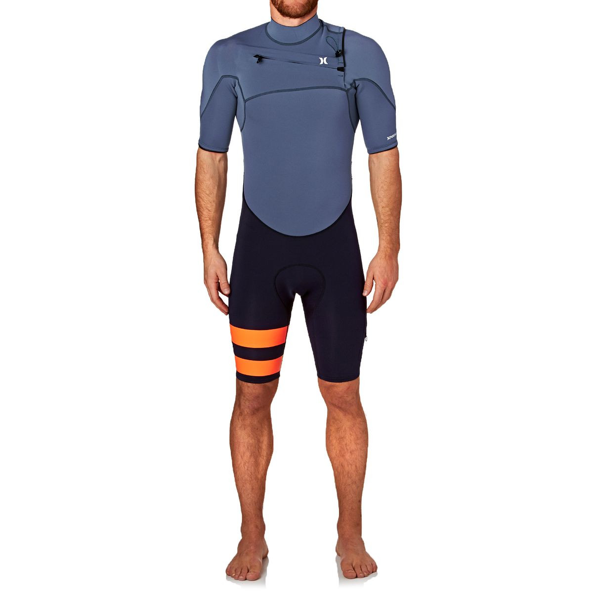 Hurley Fusion 2mm 2017 Chest Zip Short Sleeve Shorty Wetsuit - Obsidian