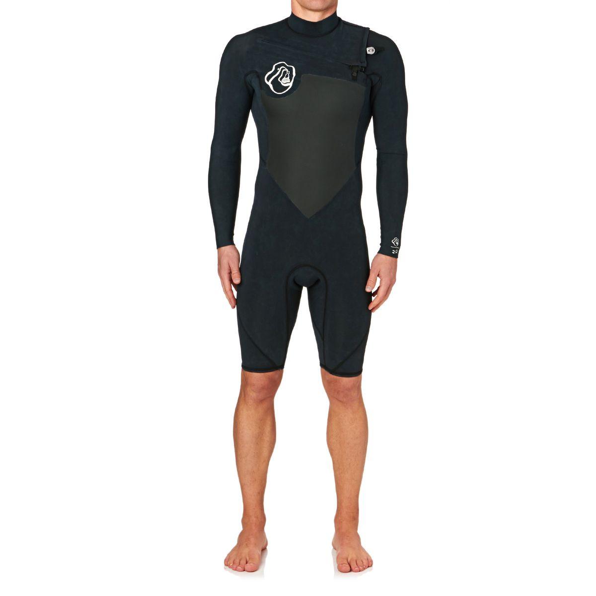 Quiksilver High Dye 2mm 2017 Chest Zip Long Sleeve Shorty Wetsuit - Black