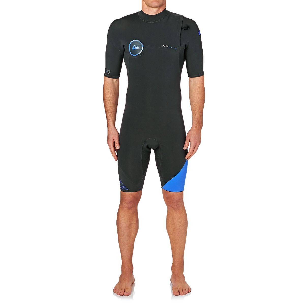 Quiksilver Syncro 2mm 2017 Zipperless Short Sleeve Shorty Wetsuit - Graphite/ Cyan