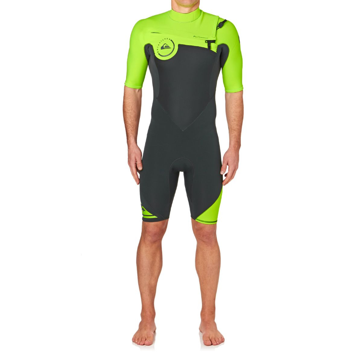 Quiksilver Syncro 2mm 2017 Chest Zip Short Sleeve Shorty Wetsuit - Saftey Yellow