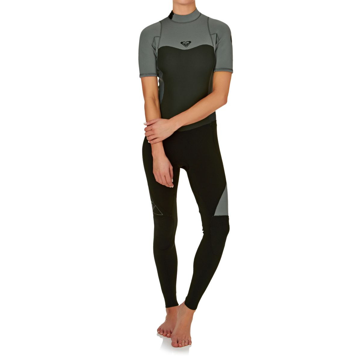 Roxy Womens Syncro 2mm Back Zip Short Sleeve Wetsuit - True Black