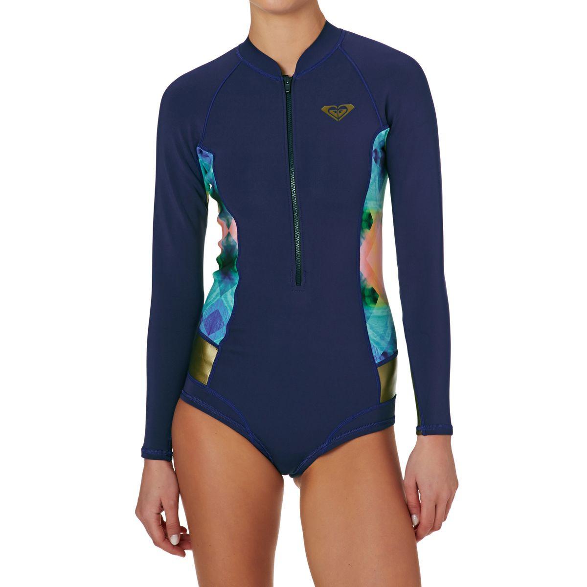 Roxy Womens Popsurf 2mm Front Zip Long Sleeve Shorty Wetsuit – Blue Depths c263ad404