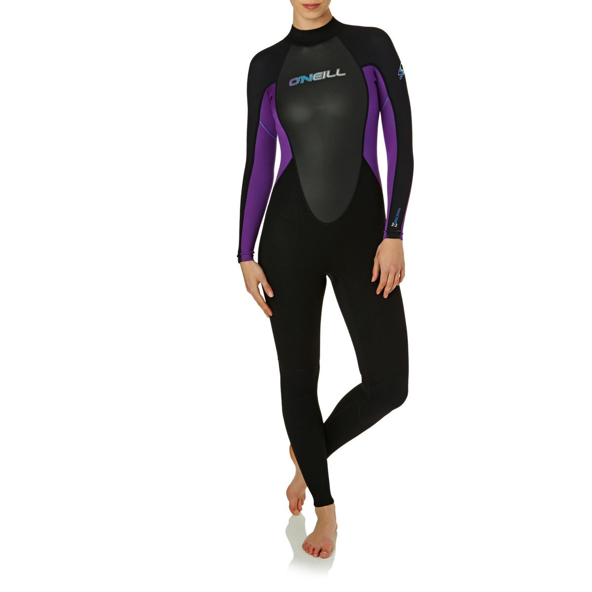 O'Neill Womens Reactor 3/2mm 2017 Back Zip Wetsuit - Black/ Black/ Ultraviolet