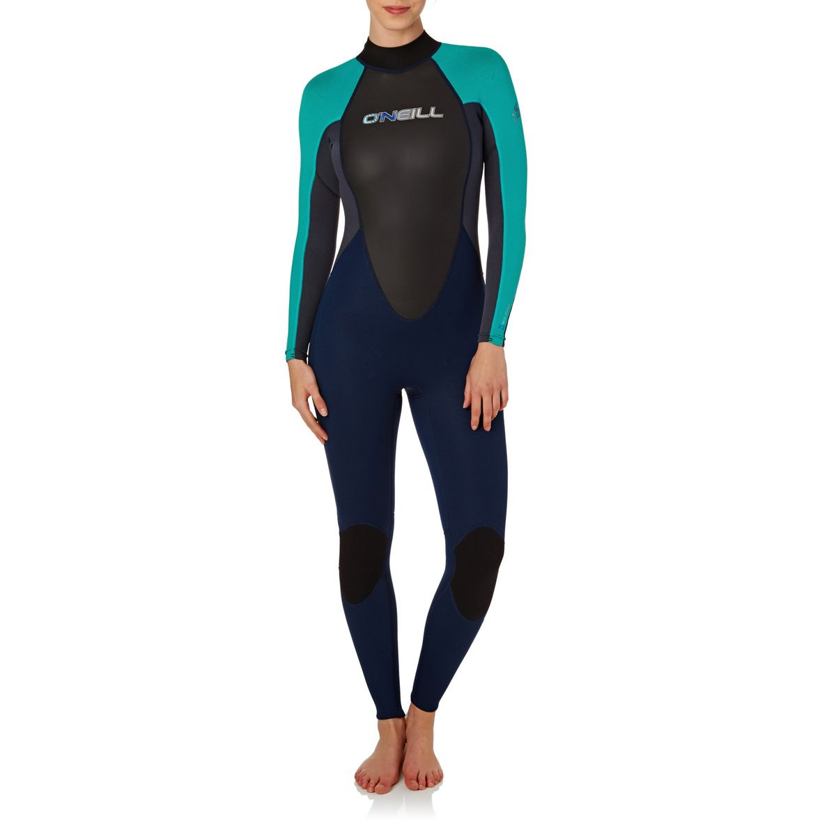 O'Neill Womens Reactor 3/2mm 2017 Back Zip Wetsuit - Navy/ Turqoise/ Graphite