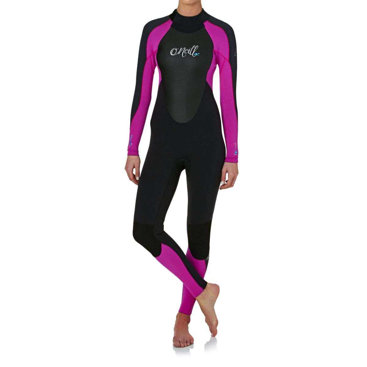 O'Neill Womens Epic 3/2mm Back Zip Wetsuit - Black/ Berry/ Graphite