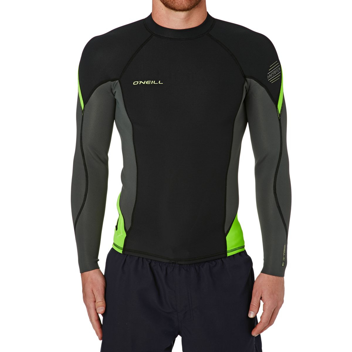 O'Neill Hyperfreak 1.5mm Long Sleeve Crew Wetsuit Jacket - Black/ Graphite/ Dayglow