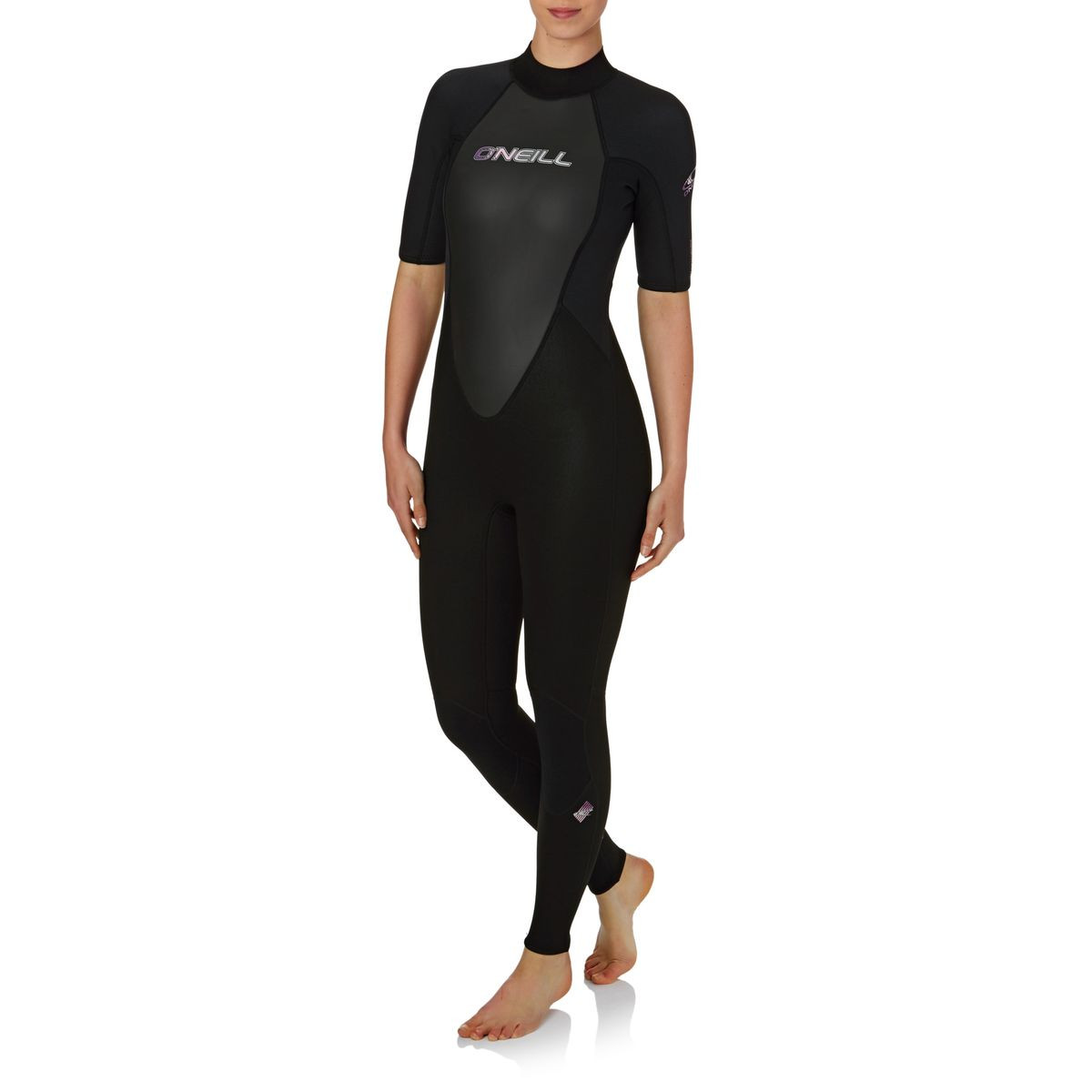 O'Neill Womens Reactor 3/2mm 2017 Back Zip Short Sleeve Wetsuit - Black/ Black/ Black