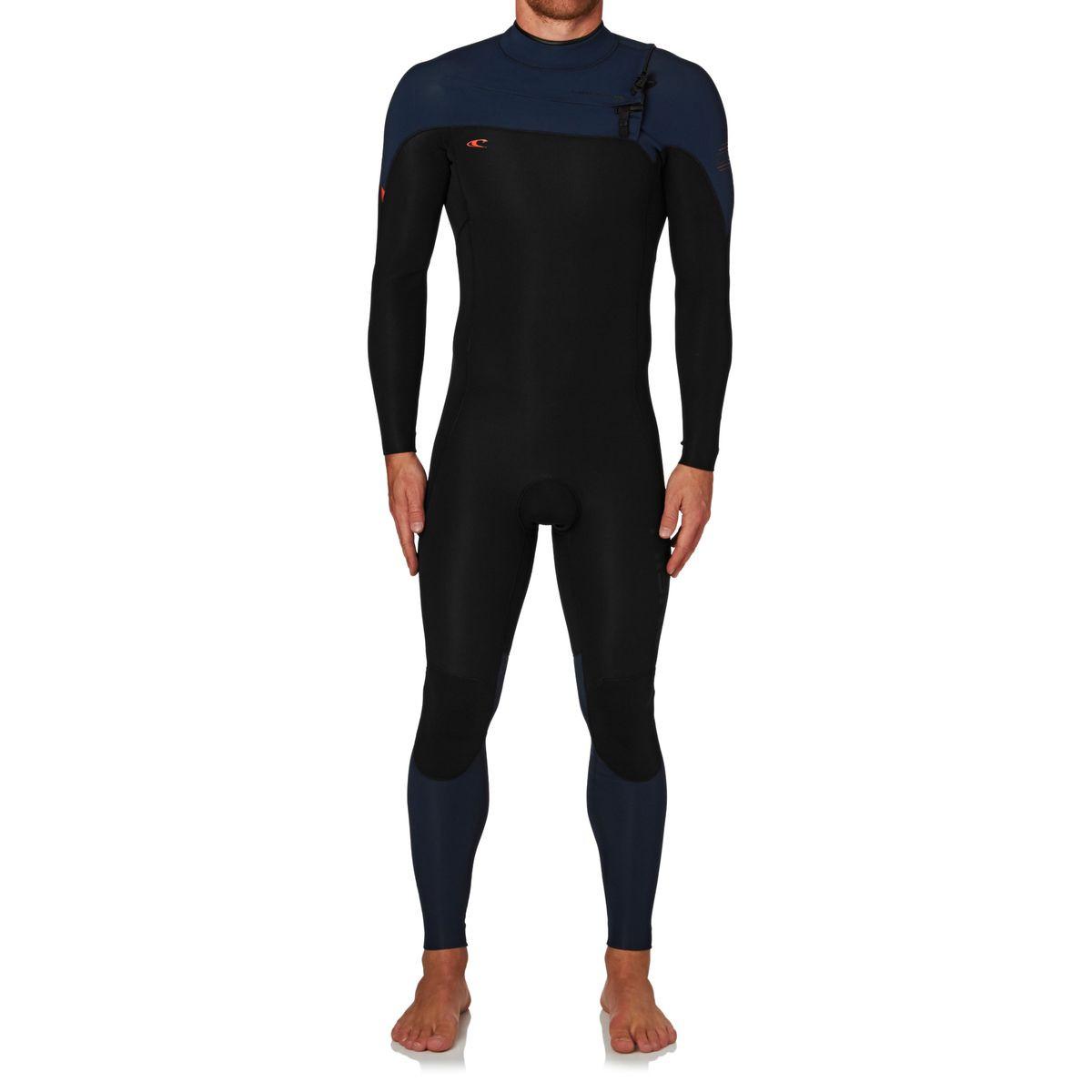 O'Neill Hyperfreak 3/2mm 2017 Chest Zip Wetsuit - Black/ Navy/ Neon Red