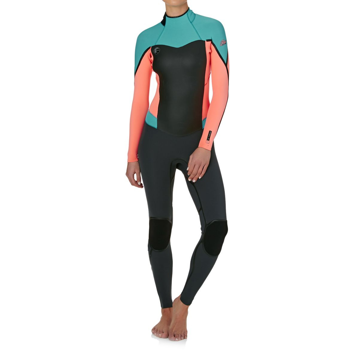 O'Neill Womems Flair 3/2mm Back Zip Wetsuit - Graphite/ Light Grapefruit/ Light Aqua
