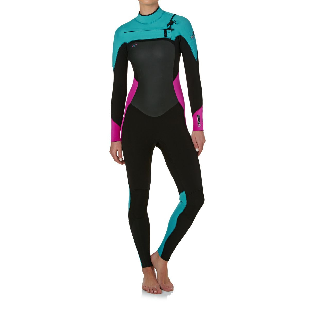 O'Neill Womens Superfreak 4/3mm Chest Zip Wetsuit - Black/ Berry/ Light Aqua