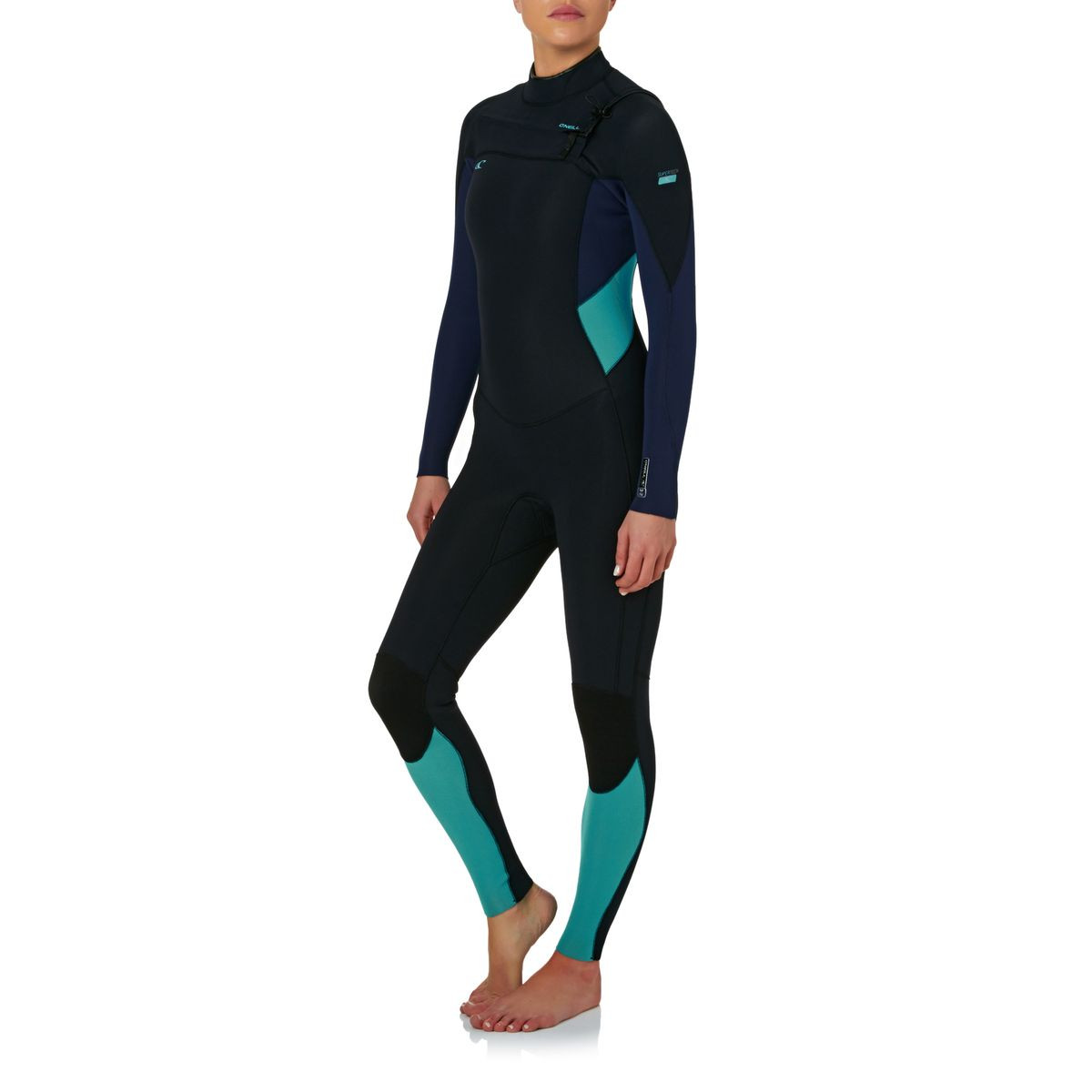 O'Neill Womens Supertech 3/2mm Chest Zip Wetsuit - Black/ Navy/ Light Aqua