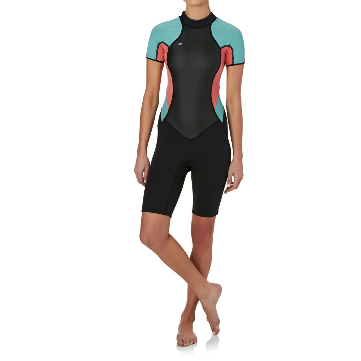 O'Neill Womens Bahia 2/1mm Back Zip Short Sleeve Shorty Wetsuit - Black/ Coral/ Light Aqua