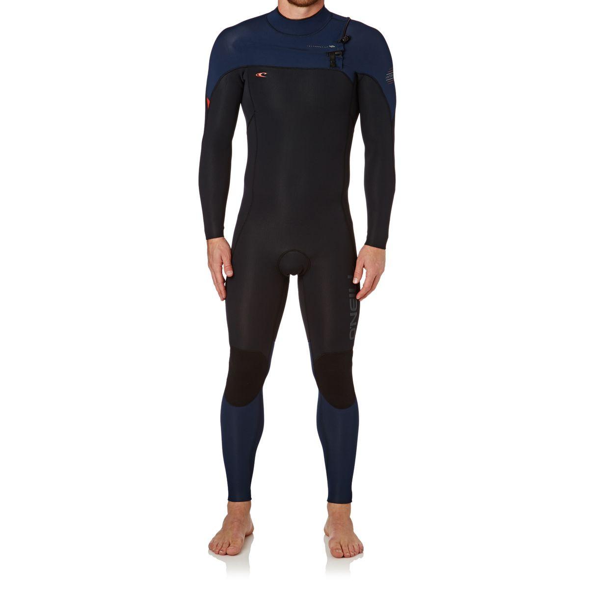 O'Neill Hyperfreak 4/3mm Chest Zip Wetsuit - Black/ Navy/ Neon Red