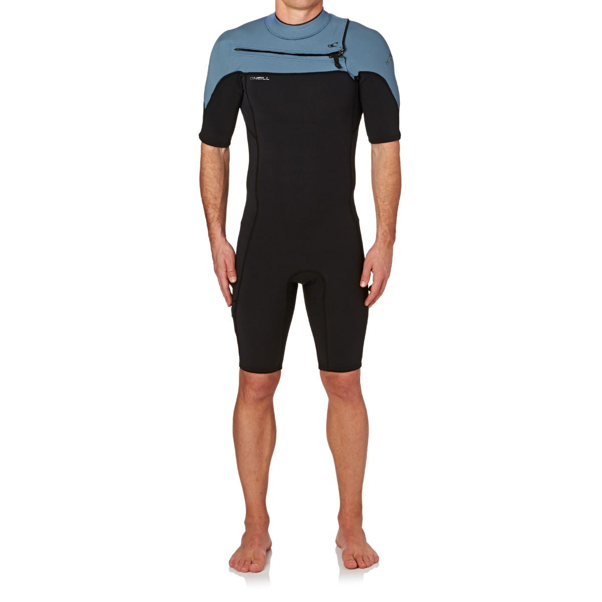 O'Neill Hammer 2mm 2017 Chest Zip Short Sleeve Shorty Wetsuit - Black/ Black/ Dusty Blue
