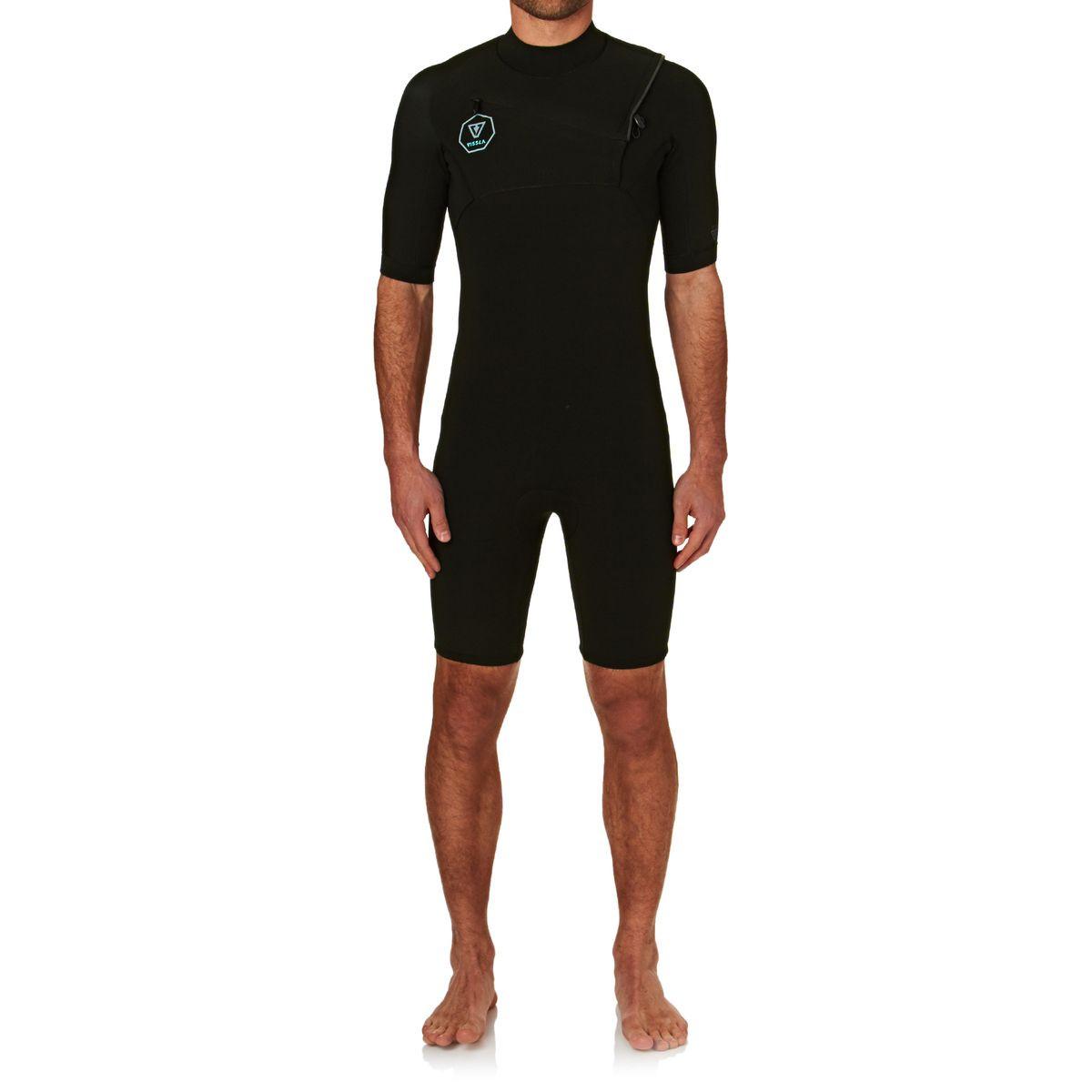 Vissla 7 Seas 2/2mm Chest Zip Shorty Wetsuit - Black