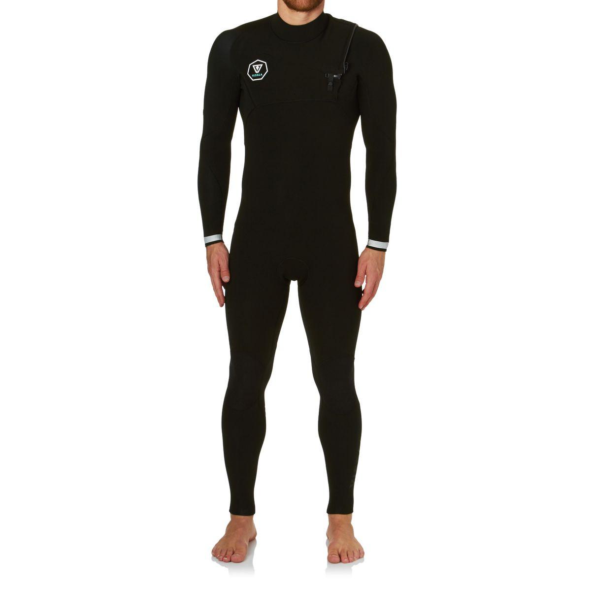 Vissla Seven Seas 3/2mm Chest Zip Wetsuit - Black With White