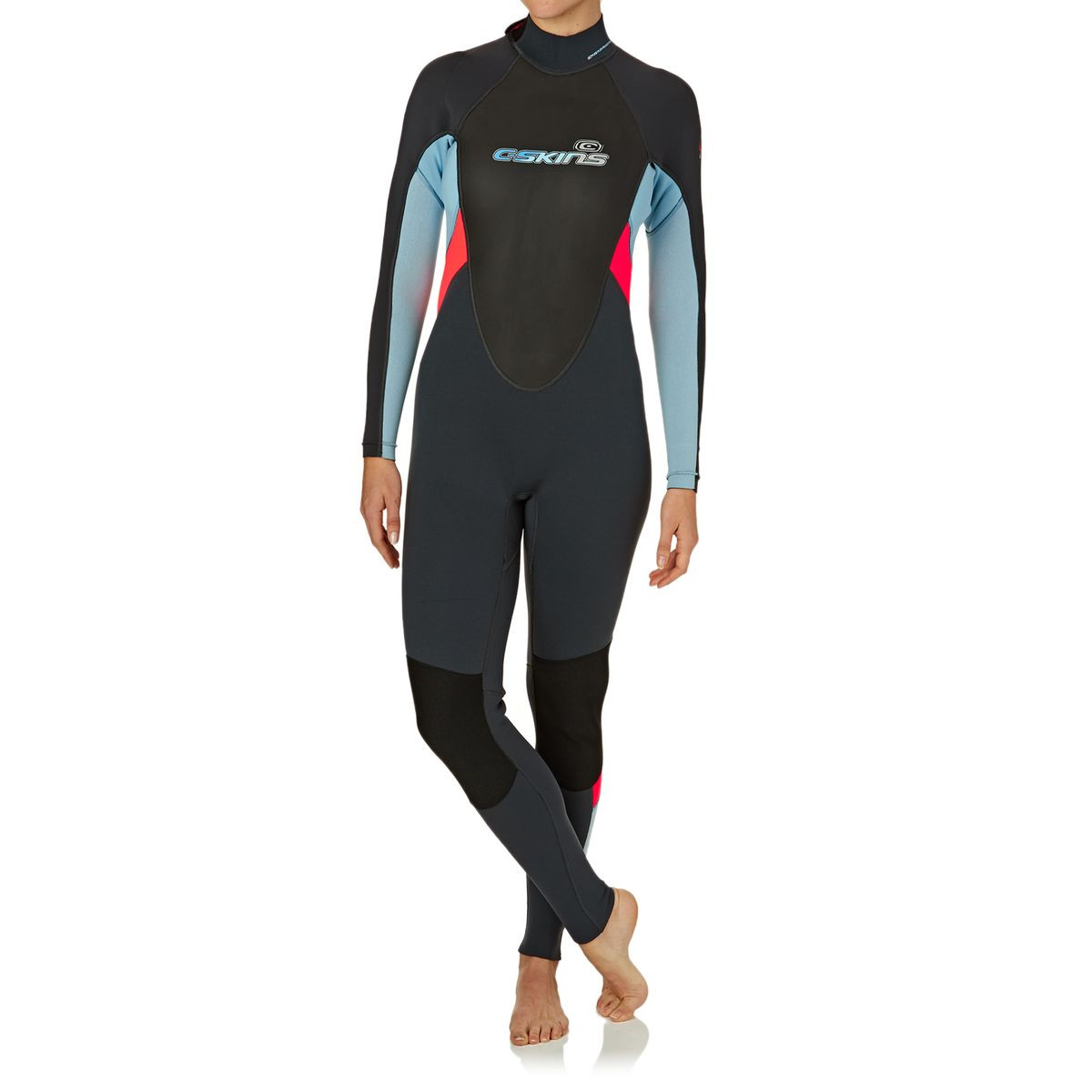 C-Skins Womens Element 3/2mm 2017 Back Zip Flatlock Wetsuit - Graphite/ Coral / Cold Blue