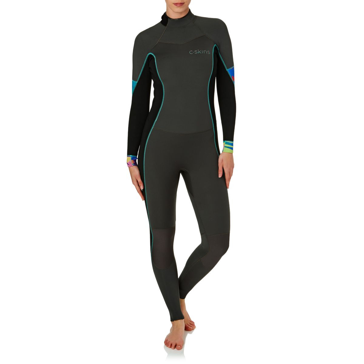 C-Skins Womens Solace 3/2mm 2017 Back Zip GBS Wetsuit - Gunmetal/ Black/ Tropic Trees