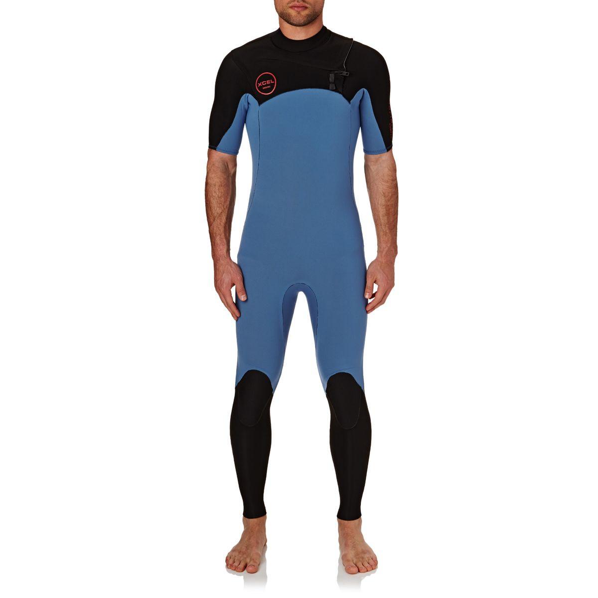 Xcel Infiniti Comp 2mm 2017 Short Sleeve Chest Zip Wetsuit - Faience Blue / Black