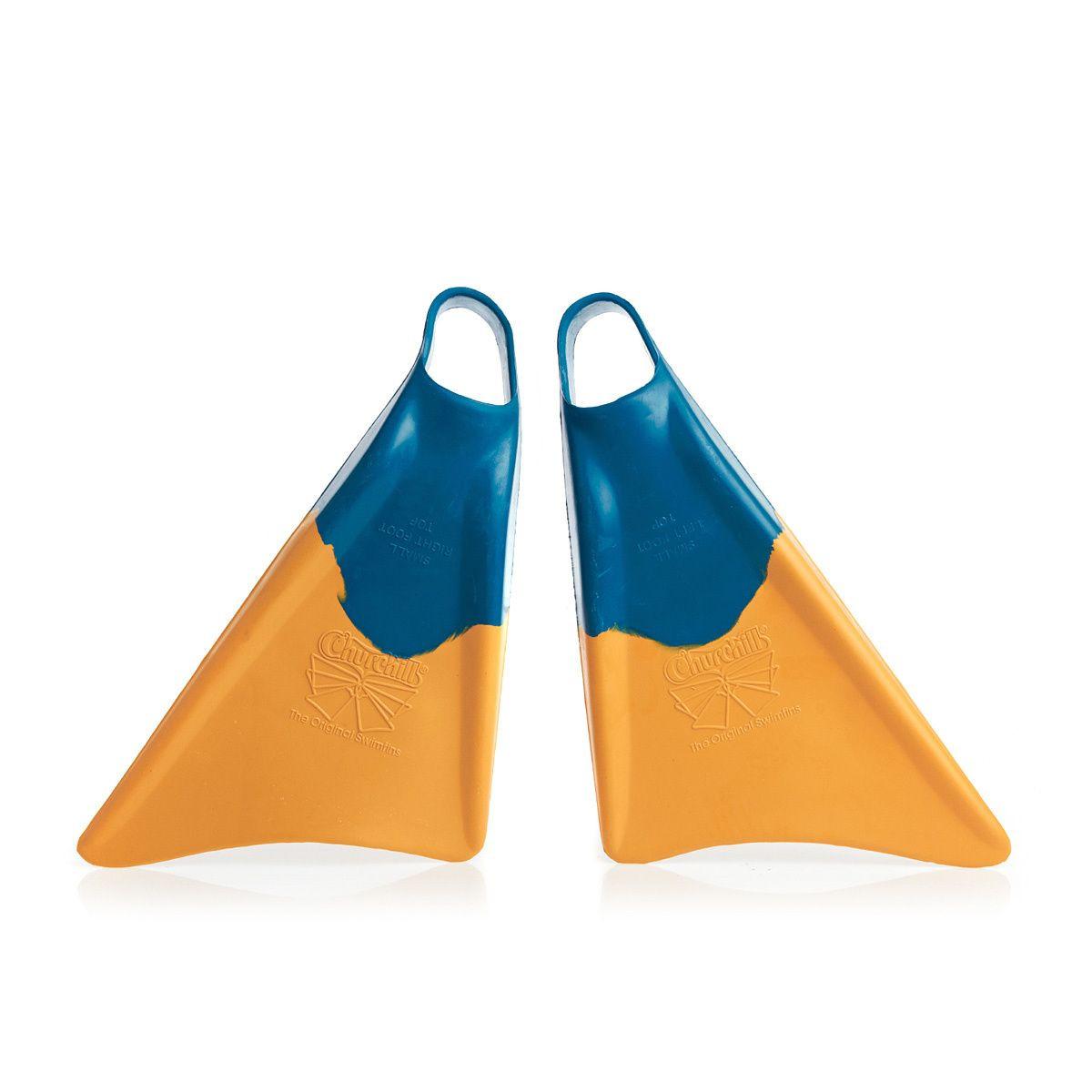 Churchill Makapuu Bodyboard Fins - Blue/ Yellow