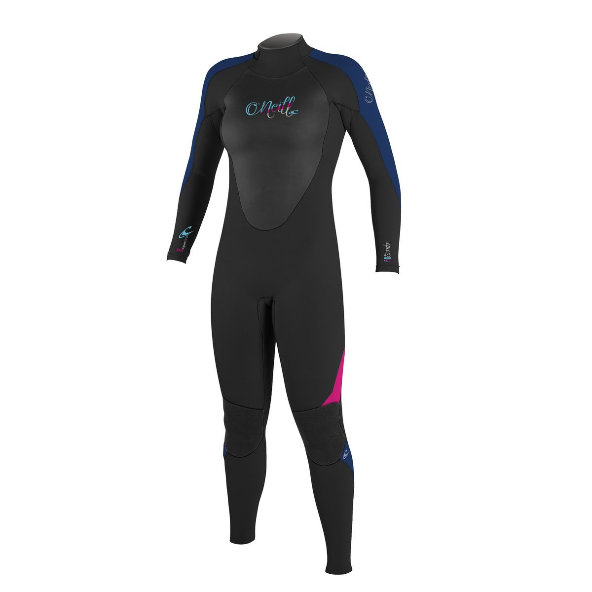 O'Neill Womens Epic Back Zip 4/3mm Wetsuit - Black/ Navy/ Berry
