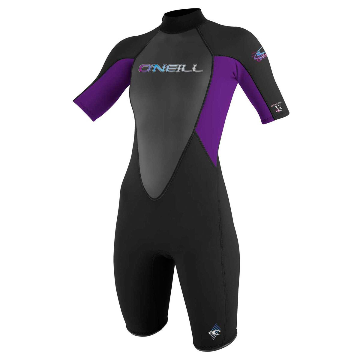 O'Neill Womens Reactor 2mm Short Sleeve Shorty Wetsuit - Black/ Black