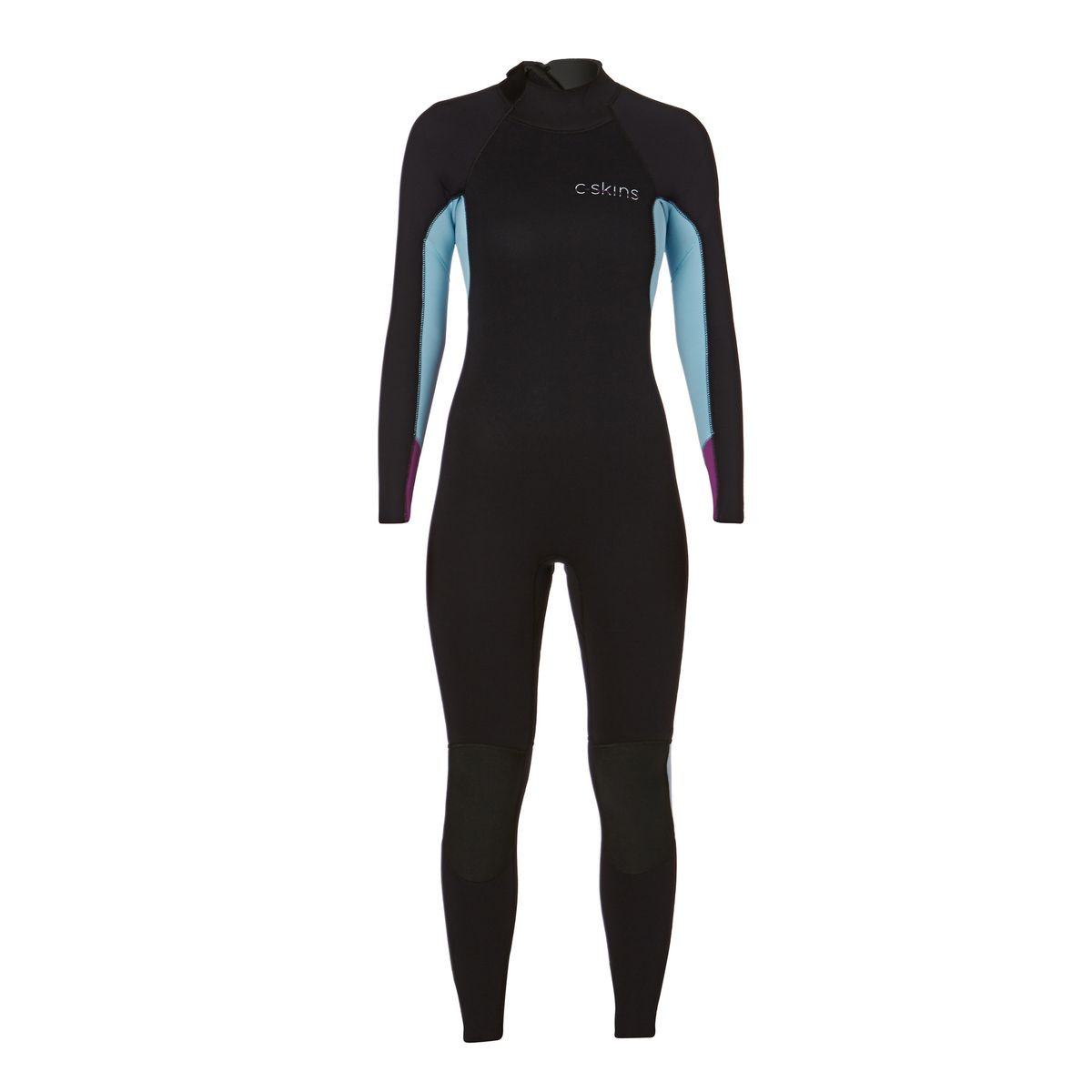 C-Skins Womens Surflite 4/3mm GBS Back Zip Steamer - Black/ Cold Blue/ Lilac