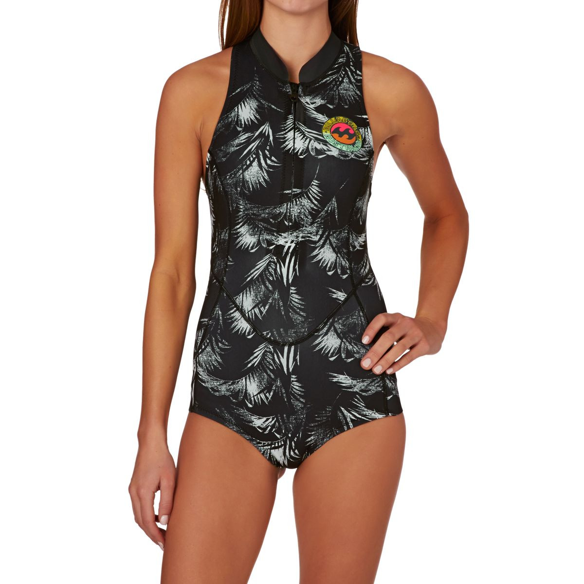 Billabong Womens Surf Capsule 1mm Front Zip Sleeveless Shorty Wetsuit - Black Sands